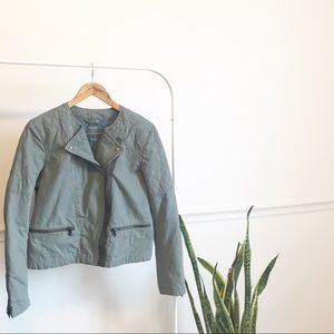 Gap | army green quilted moto jacket 12